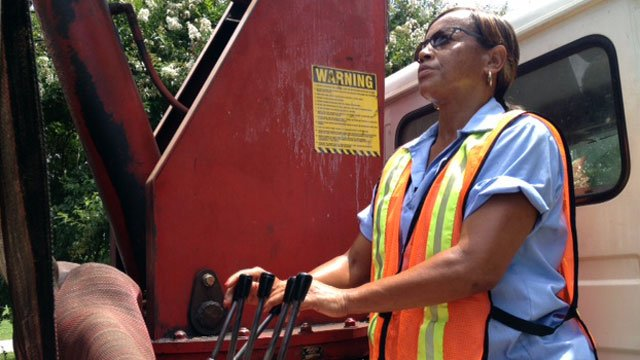 Ethel Saddler operates a trash truck for the City of Laurens. (Aug. 6, 2012/FOX Carolina)