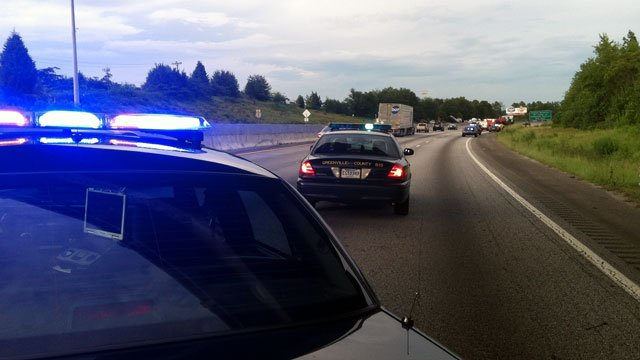 Greenville County deputies block two lanes of Interstate 85 after a crash. (Aug. 7, 2012/FOX Carolina)