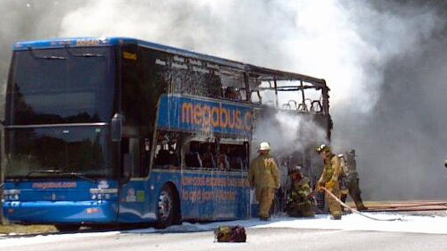 Fire gutted a Megabus headed to Charlotte from Atlanta Wednesday. (Aug. 8, 2012/FOX Carolina)