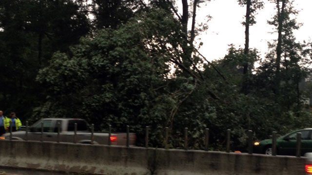 A felled tree blocks two lanes of Interstate 85 northbound in Greenville. (Aug. 9, 2012/FOX Carolina)