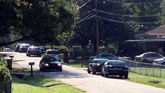 Deputies respond to an officer-involved shooting on Lermann Drive. (Aug. 13, 2012/FOX Carolina)