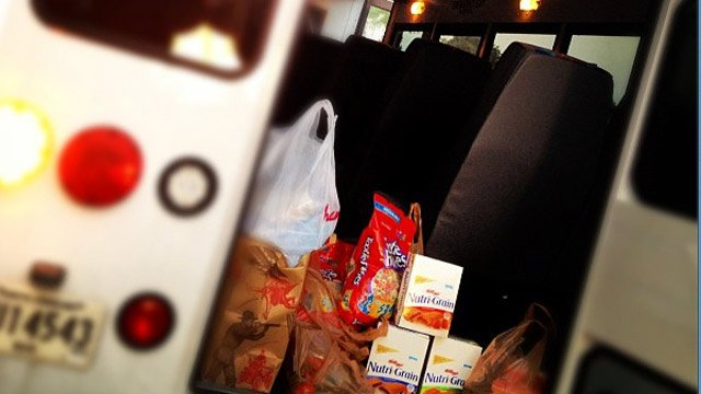 Donations begin to pile up inside the The Salvation Army's van. (Aug. 17, 2012/FOX Carolina)