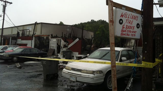 Part of Williams Tire's building collapsed during the fire. (Aug. 15, 2012/FOX Carolina)