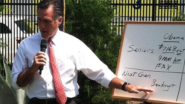 Mitt Romney gives an impromptu campaign speech on the differences of his medicare plan at GSP. (Aug. 16, 2012/FOX Carolina)