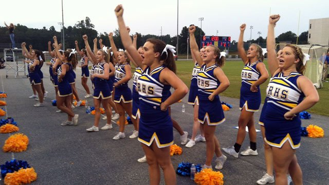 The Travelers Rest High cheerleaders pump up fans during their game against West Oak. (Aug. 18, 2012/FOX Carolina)