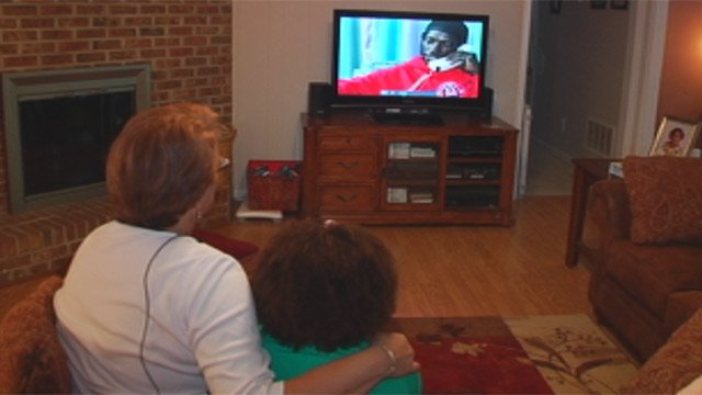 Hailey and Sharon Bryan watch the FOX Carolina News story that aired in 2004 for first time. (Aug. 20, 2012/FOX Carolina)