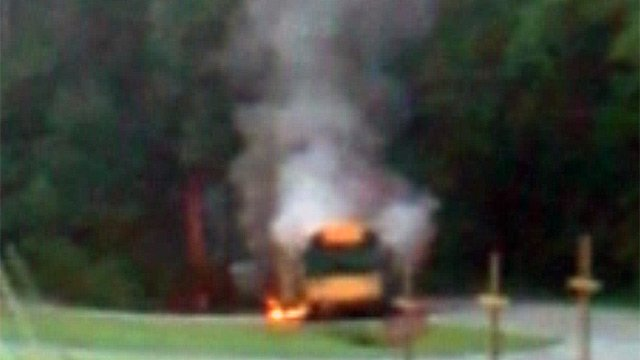 An iWitness photo of the bus on fire. (Aug. 21, 2012/FOX Carolina iWitness James)