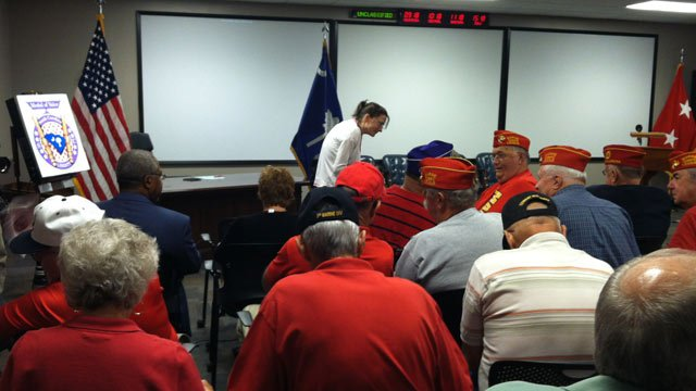 Veterans and supporters await the bill's signing in Anderson. (Aug. 21, 2012/FOX Carolina)