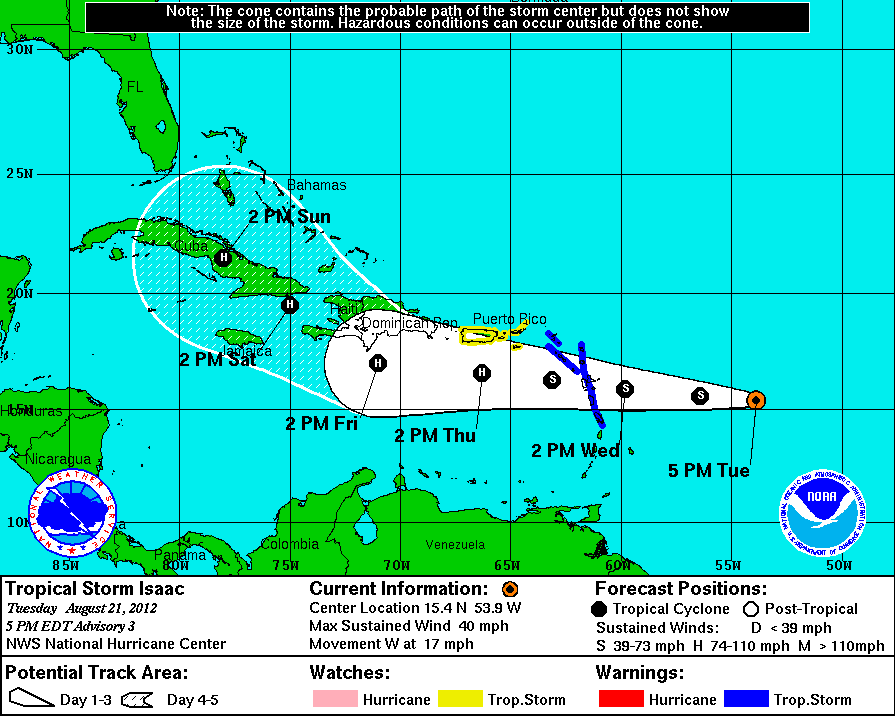 Isaac forms as a tropical storm nearing the Leeward Islands.