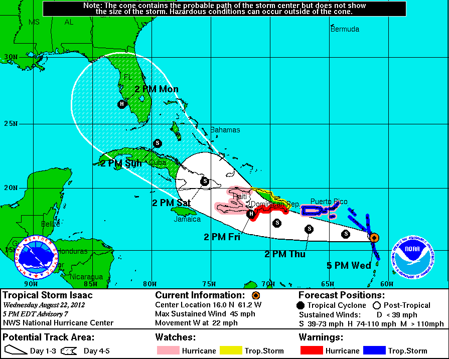 NHC forecast for Isaac