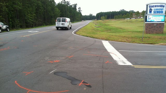 The road is marked with paint where there was an accident Tuesday morning. (Aug. 28, 2012/FOX Carolina)