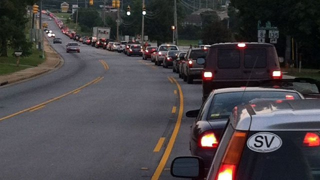 Traffic is backed up for miles on a highway leading to the Easley High School stadium. (Aug. 24, 2012/FOX Carolina)