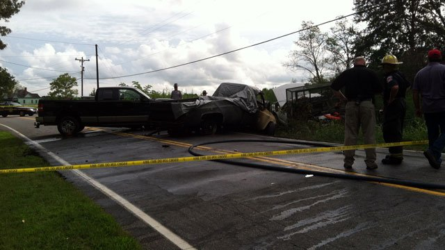 Authorities block off a road near Pelzer after a fatal crash. (Aug. 30, 2012/FOX Carolina)
