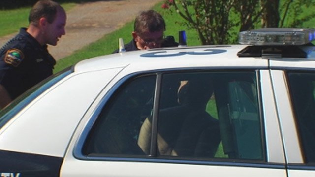 Deputies arrest James Hill Jr. after the chase along Emma Cudd Road. (Aug. 31, 2012/FOX Carolina)