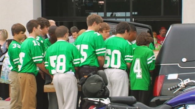 Daniel Smith's teammates serve as pallbearers. (Sept. 3, 2012/FOX Carolina)