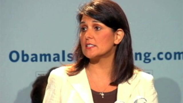 Haley speaks at a GOP event in Charlotte. (Sept. 4, 2012/FOX Carolina)