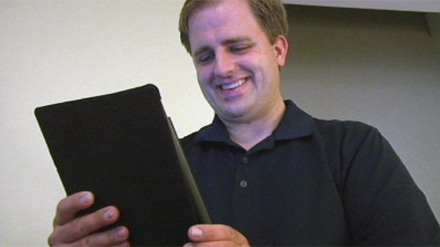 Joel Lindstrom talks to Stephanie on his iPad. (Sept. 6, 2012/FOX Carolina)
