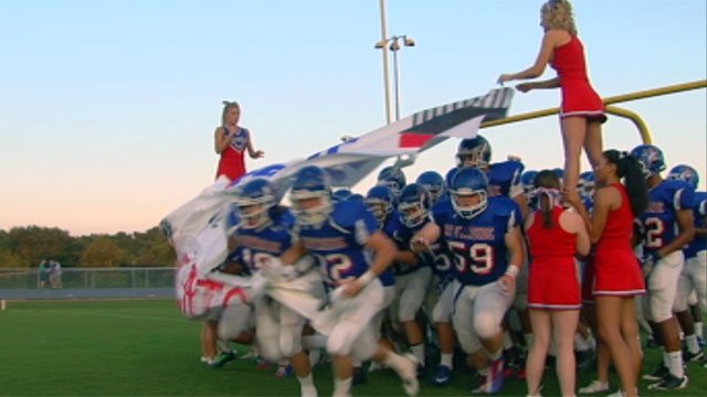 Riverside rushes onto the field for their home game against Woodmont. (Sept. 7, 2012/FOX Carolina)