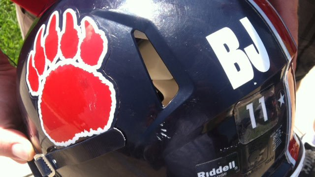 BHP's helmets with the initials 'BJ' in honor of Jordan. (Sept. 7, 2012/FOX Carolina)