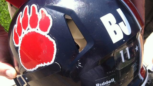 BHP's helmets with the initials 'BJ' in honor of Jordan. (Sept. 7, 2012/FOX Carolina)