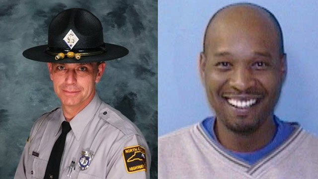 """Trooper Bobby """"Gene"""" DeMuth (left) and Christopher Rodgers. (NC State Highway Patrol)"""