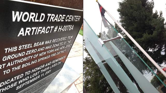 The World Trade Center Memorial Plaza at the Boiling Springs Fire Dept. (Sept. 11, 2012/FOX Carolina)