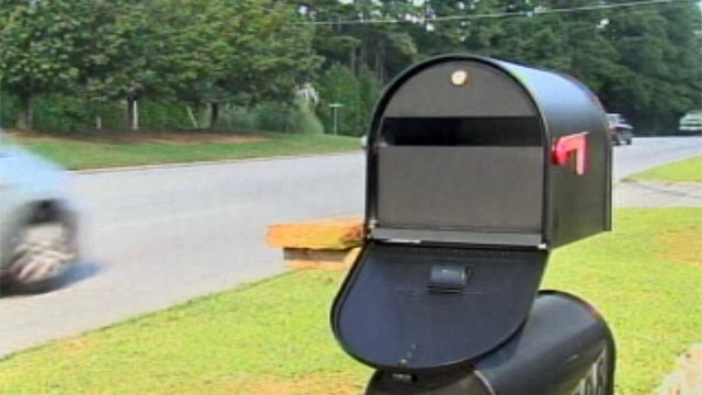 The mailbox along S. Pine Street where the theft and attack occurred. (Sept. 11, 2012/FOX Carolina)