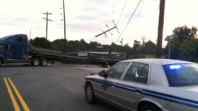 The tractor-trailer pulled down a power pole and lines at the intersection of Waddell Rand Warehouse Court. (Sept. 12. 2012/FOX Carolina)