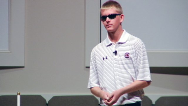 Jake Olson talks at an event at Covenant United Methodist Church in Greer. (Sept. 12, 2012/FOX Carolina)