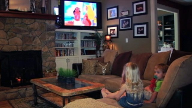 Georgie Brown's children watch a show on The Disney Channel. (Sept. 13, 2012/FOX Carolina)