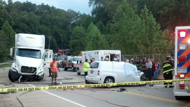 Emergency crews block off state Highway 8 after a fatal crash near Pelzer. (Sept. 17, 2012/FOX Carolina)