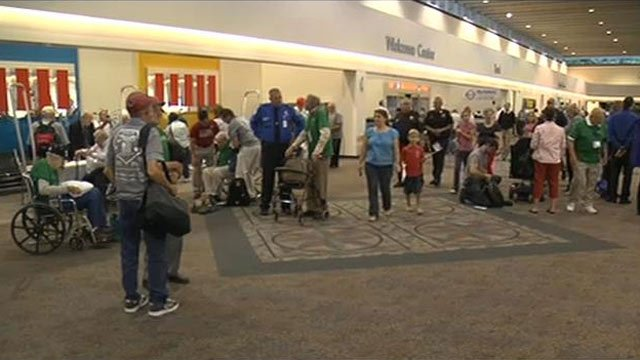 WWII veterans and others gather at GSP to take off on the Honor Flight. (Sept. 18, 2012/FOX Carolina)