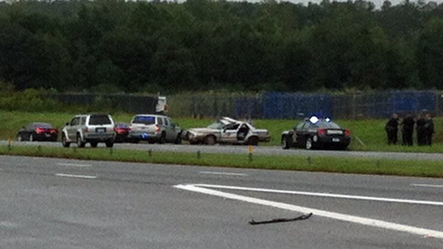 The trooper's car (second from right) was damaged in the crash. (Sept. 18, 2012/FOX Carolina)