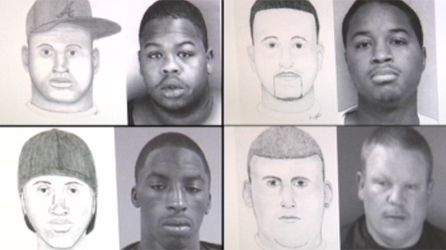 Some of Caron's sketches and the suspects they were identified to be. (Courtesy: Anderson Co. Sheriff's Office)
