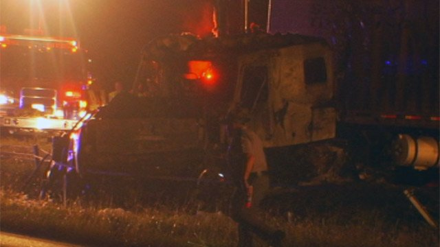 The burned tractor-trailer along the median of I-85 in Cherokee Co. (Sept. 18, 2012/FOX Carolina)