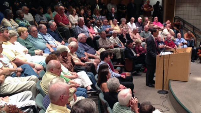 Martin Brown addresses the grievance committee before a packed audience. (Sept. 19, 2012/FOX Carolina)