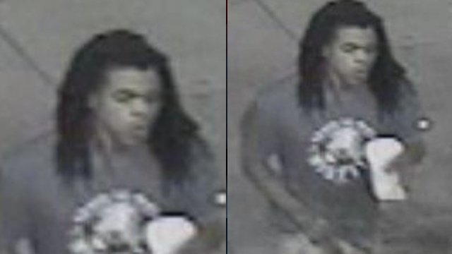 Surveillance of the man Asheville police say assaulted a woman at a Cook Out restaurant. (Asheville Police Dept.)