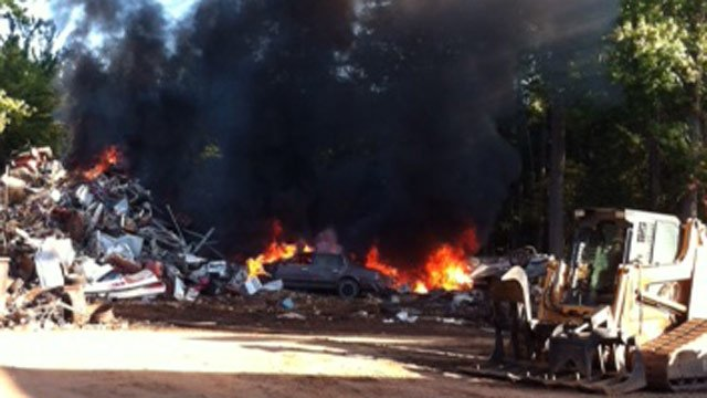 Cars on fire after the explosion at the metal yard. (Courtesy Prosperity Metal Recycling)