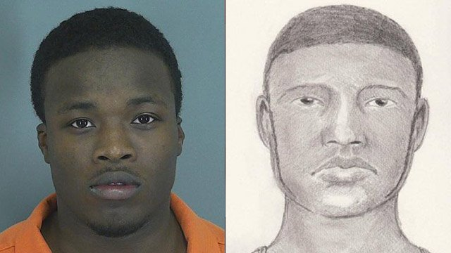 Rodney Davis Jr. and the initial suspect sketch. (Spartanburg Co. Sheriff's Office)