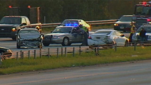 Emergency crews clear a fatal crash along I-85 in Spartanburg County. (Sept. 26, 2012/FOX Carolina)