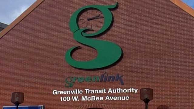 The Greenlink logo is seen on the Transit Authority building in downtown Greenville. (File/FOX Carolina)