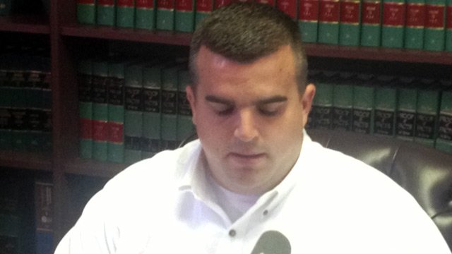 Ex-Pickens police officer Michael McClatchy addresses the media following his arrest. (Sept. 27, 2012/FOX Carolina)