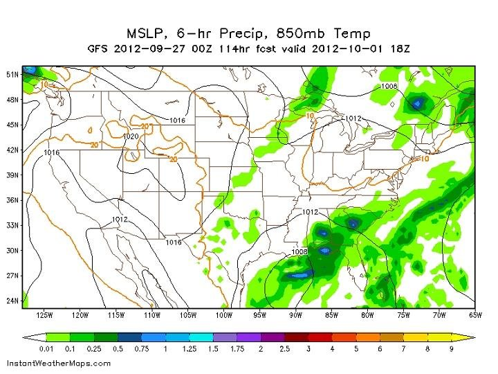 this image shows a projection of accumulated precipitation from Monday morning until the early afternoon