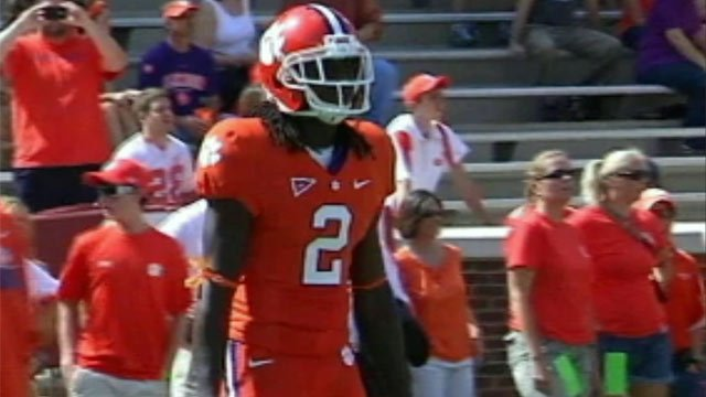 Clemson wide receiver Sammy Watkins walks on to a field at a spring football game. (File/FOX Carolina)