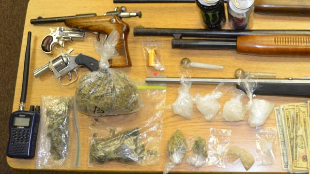 Some of the drugs and guns police seized.  (Seneca Police Dept.)