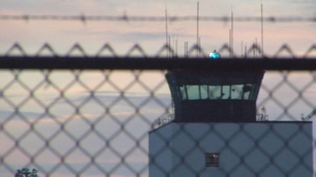 Controllers look out the windows of the tower at the Greenville-Spartanburg International Airport. (Sept. 28, 2012/FOX Carolina)