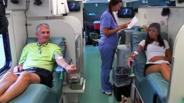 Anna Kate Eskew and her father donate blood at a Blood Connection blood mobile. (File/FOX Carolina)