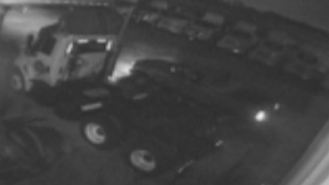 Police say the pickup seen in this security camera image was used in a theft at a Fountain Inn business. (Sept. 30, 2012/Fountain Inn Police Dept.)