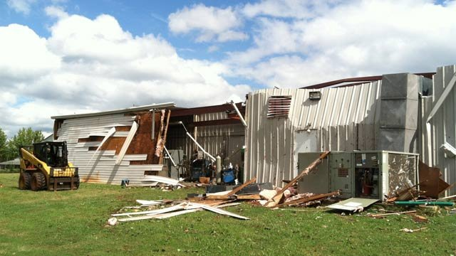 A business along Monitor Drive was damaged in Anderson. (Oct. 2, 2012/FOX Carolina)