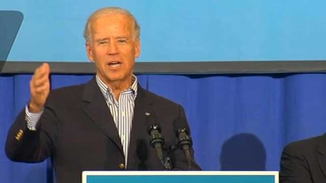 Vice President Joe Biden addresses a crowd at UNC Asheville during a campaign stop. (Oct. 2, 2012/FOX Carolina)